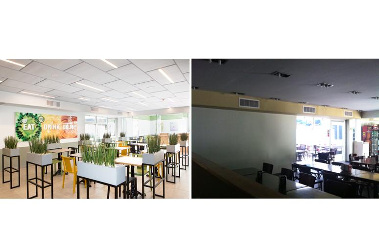 לפני ואחרי שיפוץ קפיטריה באוניברסיטת תל אביב - צבעוניות מרעננת וצעירה