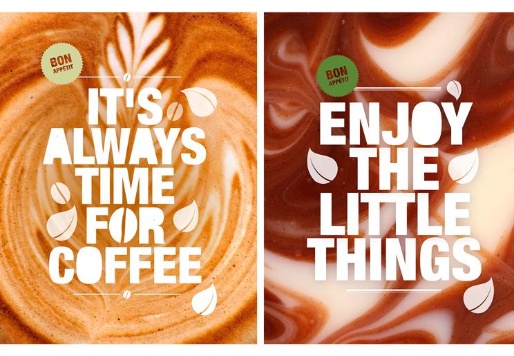 עיצוב תמונות אווירה בעמדת הקפה